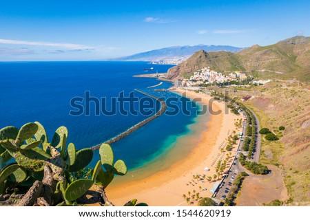 Las Teresitas beach, with Santa Cruz and El Teide in the background, Tenerife, Canary Island, Spain #1544620919