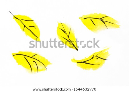 Yellow leaf painting on rice paper Illustration   #1544632970