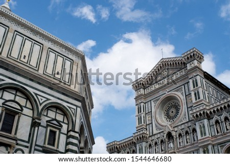 Florence's Santa Maria del Fiore, the Baptistery, blue sky and cloud. #1544646680