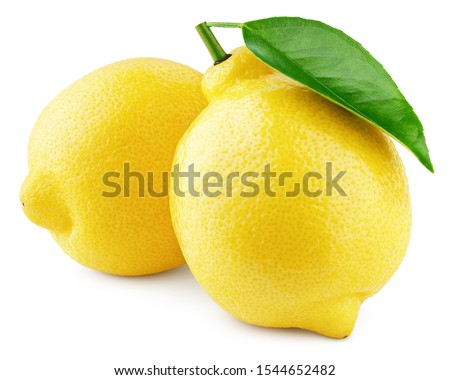Two whole yellow lemons with green leaf isolated on white background. Lemons citrus fruit with clipping path. Full depth of field. Royalty-Free Stock Photo #1544652482