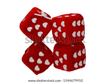Two red dice with hearts as numbers #1544679950