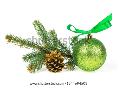 Christmas decoration - christmas ball with golden fir cone and fir tree branches isolated on a white background #1544694503