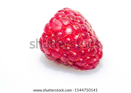 Fresh raspberry isolated on white. ripe raspberries. red berry macro clip art #1544750141