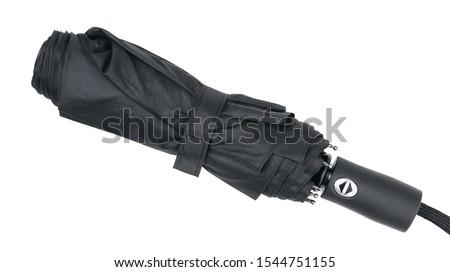 Black folding umbrella isolated on white background. #1544751155