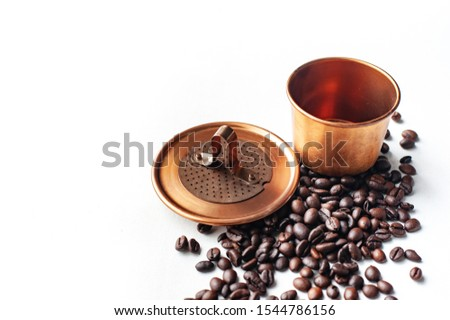 Vietname coffee, a device for making drift coffee with a strange shape Coffee bean that are grown in the country, especially the aroma, aroma, mellow taste. #1544786156