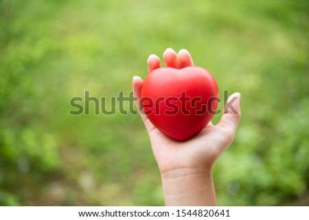 hand of child holding a red of rubber heart with green grass background. Showed the coordination, collaboration of business or requires sacrifice, attention, unity, charity, care or love of human #1544820641