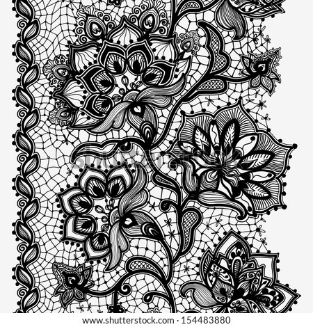 Abstract Lace Ribbon Vertical Seamless Pattern. Template frame design for card. Lace Doily. Can be used for packaging, invitations, and template.