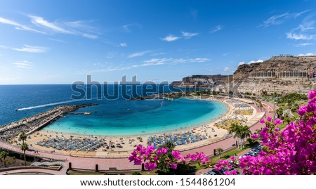 Landscape with Amadores beach on Gran Canaria, Spain #1544861204