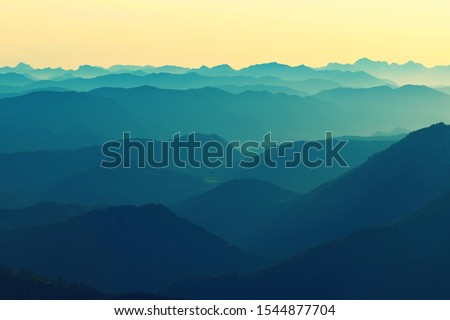 Contour tops of Alps mountain. Panorama the  Austria part of Alps and the canyons #1544877704