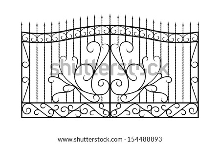 Forged gate. Isolated on white.