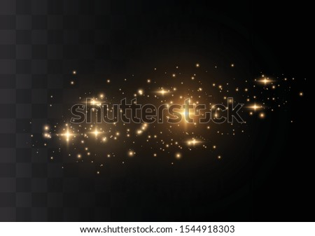 The dust sparks and golden stars shine with special light. Vector sparkles on a transparent background. Christmas light effect. Sparkling magical dust particles. #1544918303
