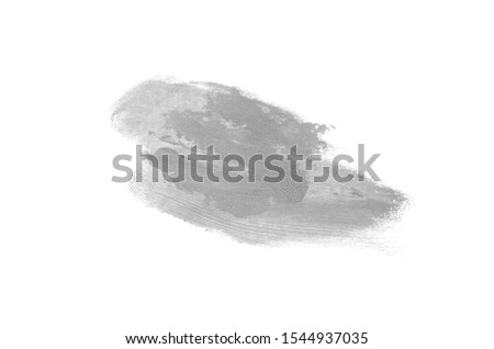 Smear and texture of lipstick or acrylic paint isolated on white background. Stroke of lipgloss or liquid nail polish swatch smudge sample. Element for beauty cosmetic design. Gray color #1544937035