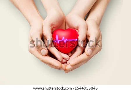 The woman is holding a red heart. Concept for charity, health insurance, love, international cardiology day. #1544955845