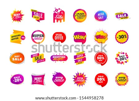 Sale banner badge. Special offer discount tags. Coupon shape templates design. Cyber monday sale discounts. Black friday shopping icons. Best ultimate offer badge. Super discount icons. Vector banners #1544958278