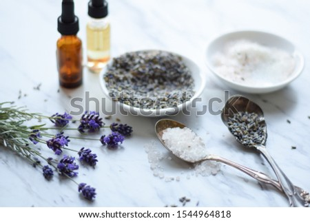 Bath and skincare essentials with lavender flowers #1544964818