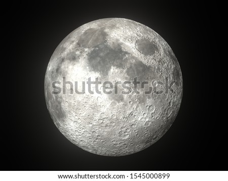 Earth's Moon Glowing On Black Background #1545000899