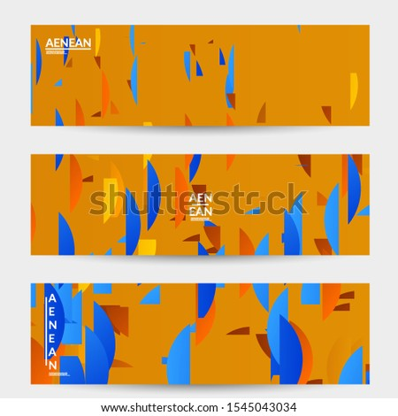 Abstract banner template with bright colored random stripes. Dynamic modern design with scattered gradient geometric shapes. Simple colorful futuristic elements. Sport music social media layout. #1545043034
