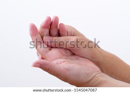Woman's hand troubled by Heberden nodule #1545047087