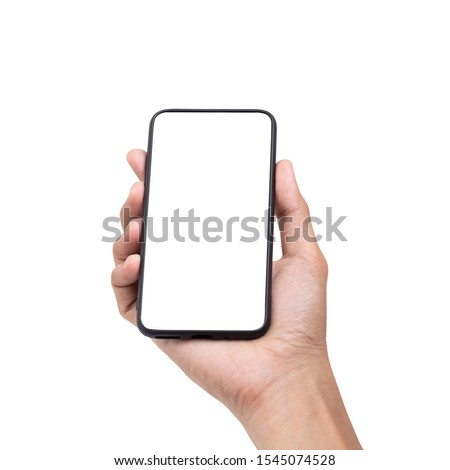 Hand man holding mobile smartphone with blank screen isolated on white background with clipping path #1545074528
