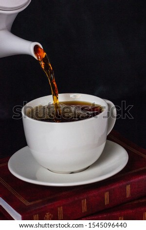 Making pour over coffee with hot water being poured from a kettle #1545096440