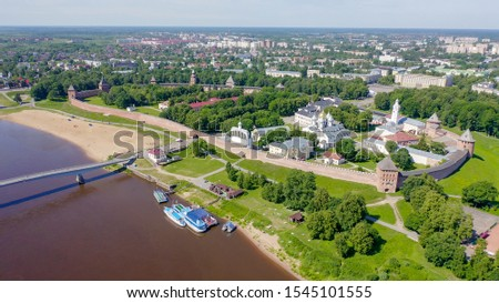 Veliky Novgorod, Russia. Novgorod Kremlin (Detinets), Volkhov River. Flight over the city, From Drone   #1545101555