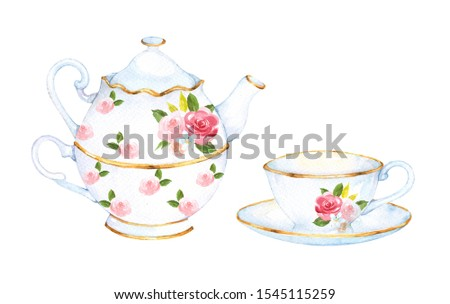 Teapot and cup set watercolour clip art for invitation or greeting cards