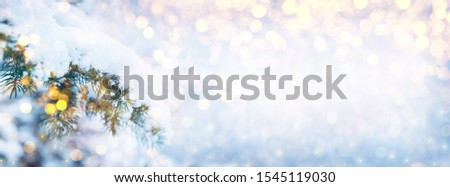 Winter fir tree christmas scene with sunlight. Fir branches covered with snow. Christmas winter blurred background with garland lights, holiday festive background.  #1545119030