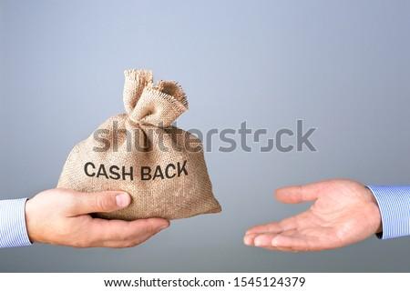 Mans hand holding, giving bag with cash bag. Cash back or money refund concept. #1545124379