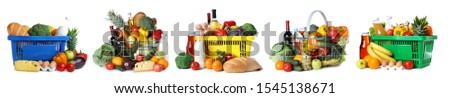 Set of shopping baskets with grocery products on white background #1545138671