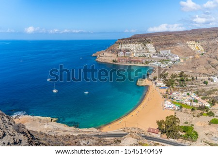 Landscape with Playa de Tauro beach on Gran Canaria, Spain Royalty-Free Stock Photo #1545140459