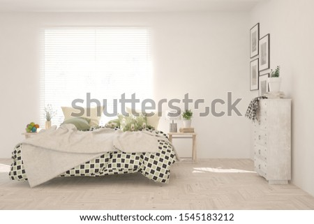 Stylish bedroom in white color. Scandinavian interior design. 3D illustration #1545183212
