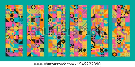 Simple banner of decorative patterns colored geometric composition flat style #1545222890