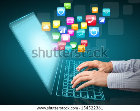 Internet communication and cloud computing concept #154522361
