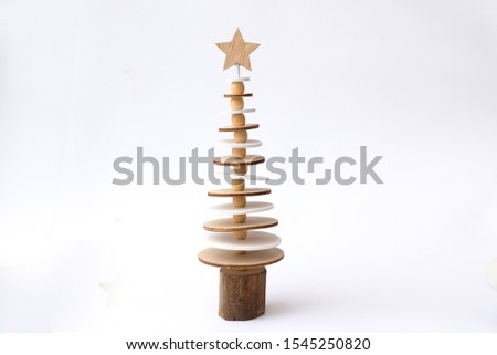 christmas wood tree isolated on white background.