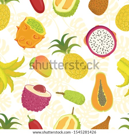 Tropical Fruits Seamless Pattern With Sweet Ripe Exotic Fruit, Can Be Used Fabric Wrapping Paper, Website Wallpapers, Background Vector Illustration #1545281426