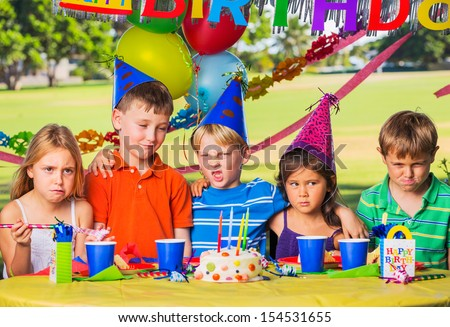 Kids at Birthday Party, Cake and Balloons #154531655