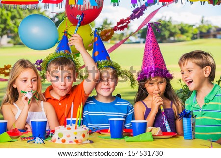 Kids at Birthday Party, Cake and Balloons #154531730