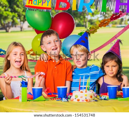 Kids at Birthday Party, Cake and Balloons #154531748