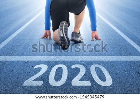 Runner man ready to run on the 2020 line. Happy New Year 2020 #1545345479