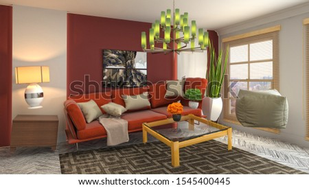 Zero Gravity Sofa hovering in living room. 3D Illustration. #1545400445