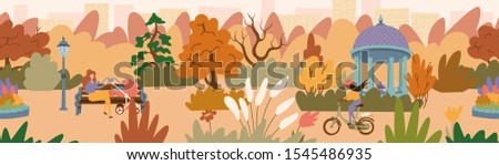Fall landscape of a beautiful park with a gazebo. A young mother sitting on the bench with a baby carriage and a girl riding a bicycle. Seamless panorama landscape. Vector illustration in flat style.  #1545486935