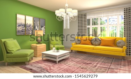 Interior of the living room. 3D illustration. #1545629279