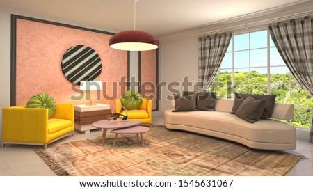 Interior of the living room. 3D illustration. #1545631067