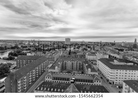 Panoramic view from a plane over Copenhagen. #1545662354