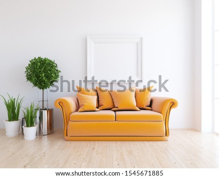 White living room interior with orange velveteen furniture on a wooden floor, frame on a large wall, white landscape in window. Home nordic interior. 3D illustration #1545671885
