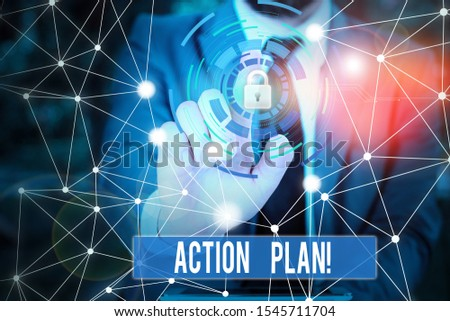 Writing note showing Action Plan. Business photo showcasing proposed strategy or course of actions for certain time Picture photo network scheme with modern smart device. #1545711704