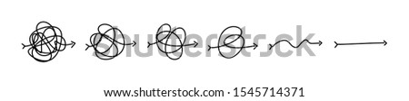 Simplifying the complex, confusion clarity or path vector idea concept. Simplification streamlining process, straight and curve vector illustration  Royalty-Free Stock Photo #1545714371