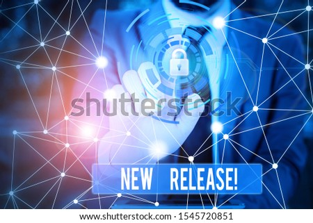 Writing note showing New Release. Business photo showcasing announcing something newsworthy recent product Picture photo network scheme with modern smart device. #1545720851