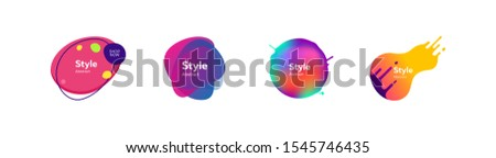 Set of beautiful flowing graphic elements. Design background with flowing shapes. Vector illustration. Can be used for advertising, marketing, presentation #1545746435