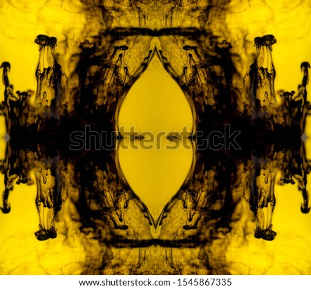 Blurred abstract background. Colorful inks in the water. Splash paint mixing. Watercolor effects. Ink pattern in Rorschach test style.  #1545867335